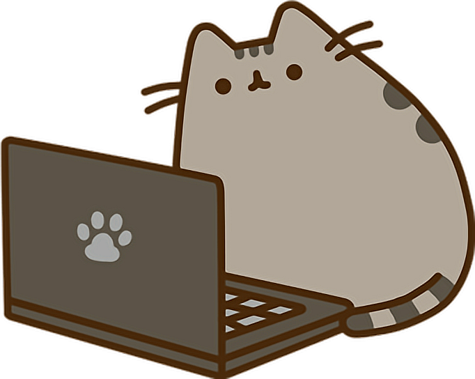 Computer Pusheen Laptop Cat Sticker By Alissa Denae