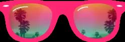 pink glasses sunglasses reflection palmtrees
