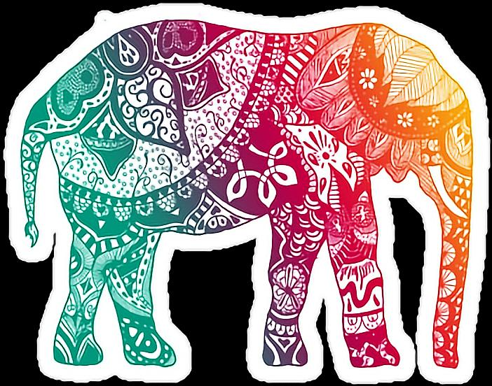 Elephant Mandala Color Rainbow Sticker By Katarina