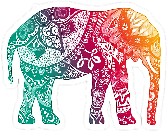Elephant Mandala Color Rainbow Sticker By Katarina