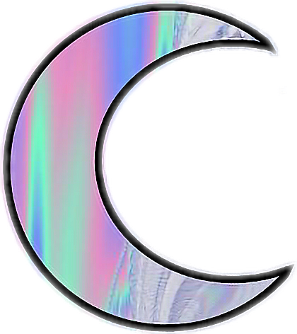ftestickers hologram holographic tumblr moon...